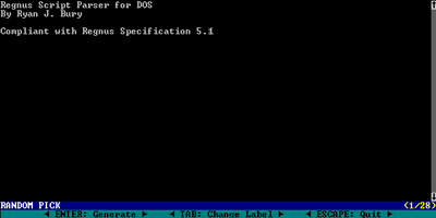 Screenshot of The Regnus Parser for DOS