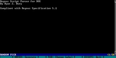 The Regnus Parser For DOS - REGNUS: The Random Text