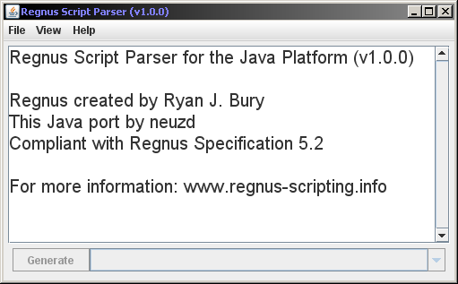 Screenshot of The Regnus Parser for the Java Platform